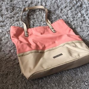 Large coral and tan tote